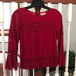 GB girls garnet & lace top size XL